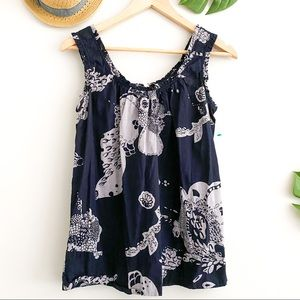 NANETTE LEPORE Navy Floral Sleeveless Ruffle Top